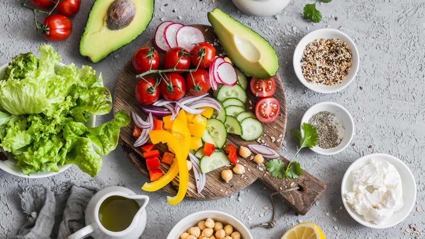 Wenig Fleisch dafür viel Obst und Gemüse