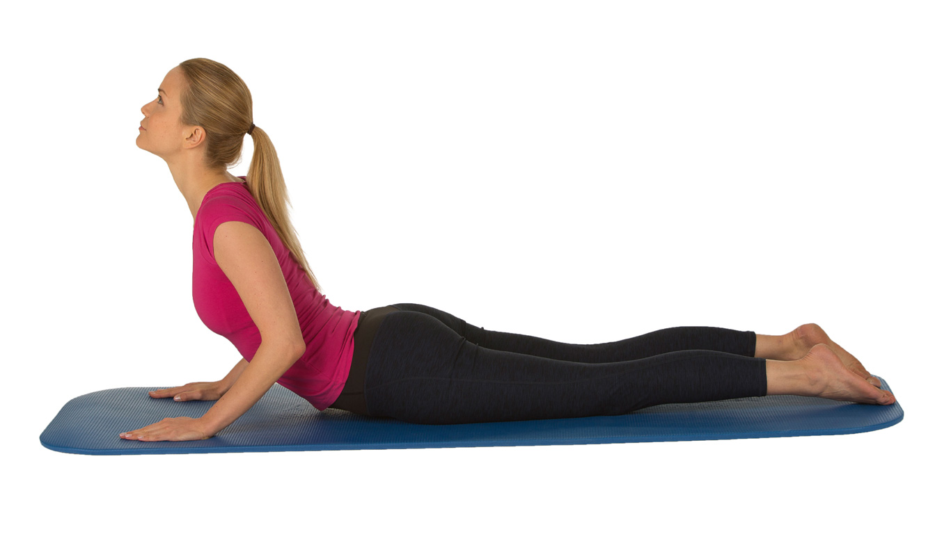 Übung 4: Kobra (kräftigt und entspannt den unteren Rücken)